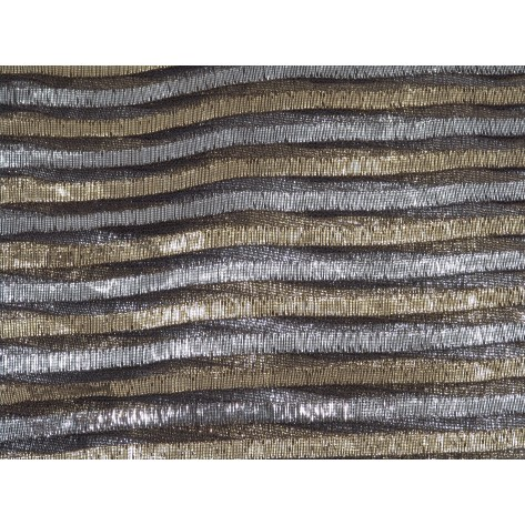 Black Sheer with Gold and Silver Lame Stripes - LSH08