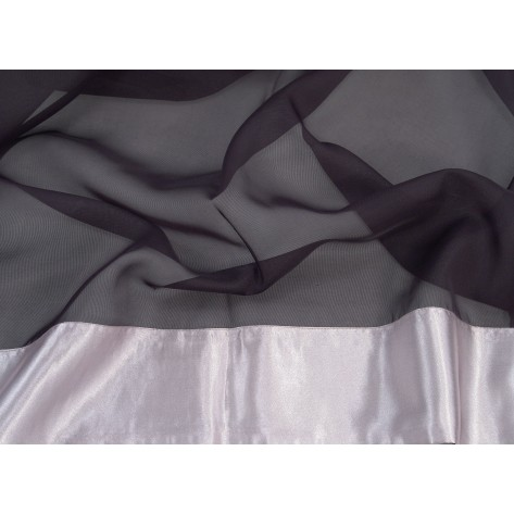 Black Sheer with Silver Satin Border - LSH07