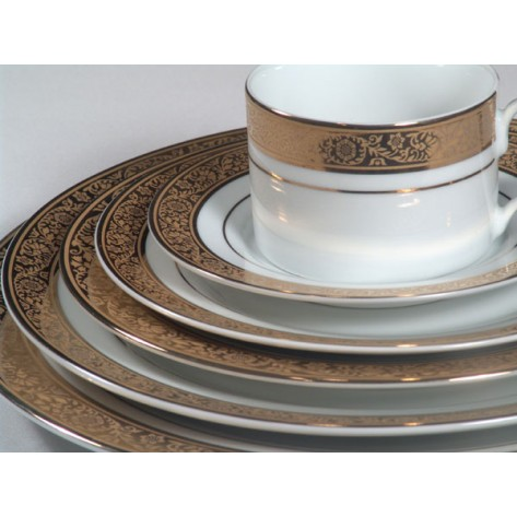 White China w/ Gold Pattern and Gold Band