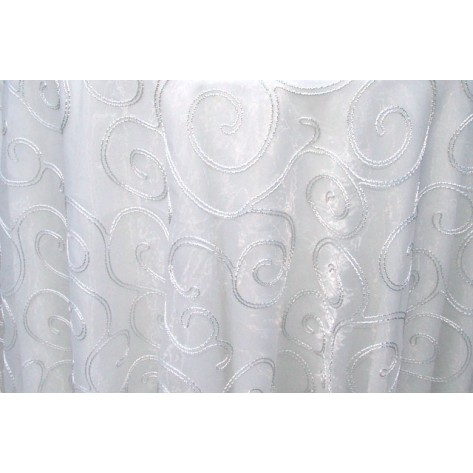 White Sheer with Silver Swirls - LSH13