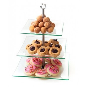 3 Tier Glass Dessert Stand  - CE102 (Qty: 50+)