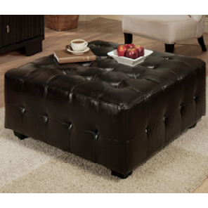 Black Leather Tufted Ottoman - SF80 (Qty: 4+)