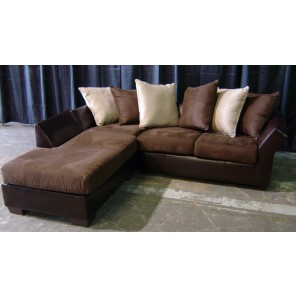 Brown Leather and Suede Sofa with Chaise- SF44 - ( Qty: 2+)