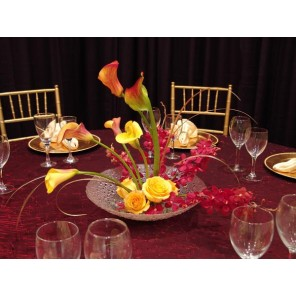 Burgundy & Gold Callas, Roses and Orchids - PF76