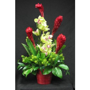 Red Ginger with Green Orchids - PF86