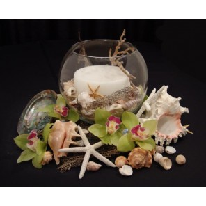 Seashells and Orchids with Candle - PF51