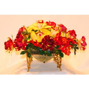 Roses and Orchids in a Brass and Glass Bowl - PF24