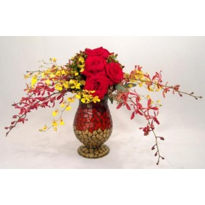 Mosaic Vase with Jamestory, Orchids, Roses and Seeded Eucalyptus - PF69