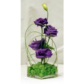 Purple Lisianthus with Green Gemstones- PF44