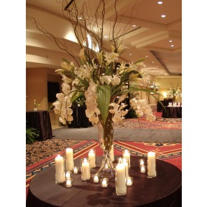 Large White Floral with Branches and Candles - PF96