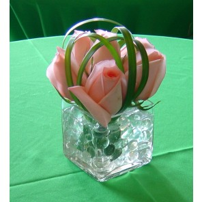 Peach Roses with Green Liriope - PF84