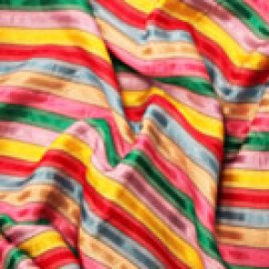 Rainbow Stripe Satin (Yellow, red, purple, green, pink) - LPR88