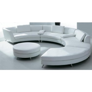 White Circular Leather Sofa w/ Ottoman