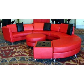 Red Circular Leather Sofa