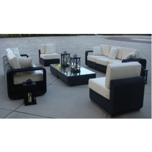 Dark Wicker Furniture with White Cushions