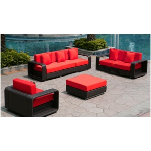 Dark Wicker Furniture - Red Cushions - SF19