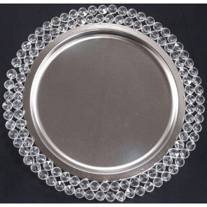 Crystal Beaded Edge Charger - TD39z (Qty:40+)