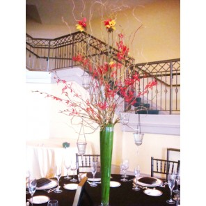 Red Orchids and Curly Willow Branches - PF92