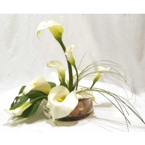 White Callas with Greenery and River Rocks - PF93