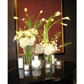 White Eclectic Floral and Candle Grouping - PF107