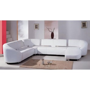 White Leather Sofa with Chaise- SF40 - ( Qty: 3+)