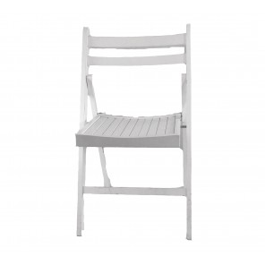 White Wood Slotted Folding Chair - C25 (Qty: 55)